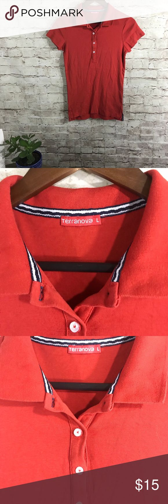 Red polo shirt (k) Gently worn , red polo shirt. Short sleeves. Size L button up v neck. Very popular European brand . Great quality terranova Tops Tees - Short Sleeve