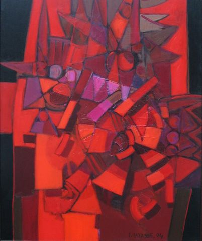 Precolumbine Symbols  oil on canvas  47 by 40 inches