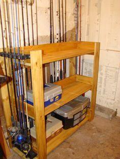 Diy Fishing Rod Storage, Good Ideas, Pallet Fishing Rod Holder, Diy Fishing Rod Holder Wood, Fishing Stuff, Storage Idea, Diy Fishing Pole Rack, ...