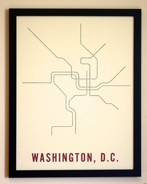 """Washington, DC Typographic Transit Map 17"""" x 22"""""""