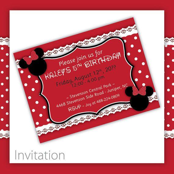 Kids Birthday  Minnie Mouse Invitation . by BlackCherryPrintable