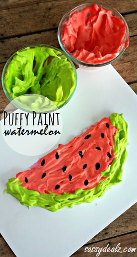 Puffy Paint Watermelon Craft for Kids - Perfect for a summer art project!