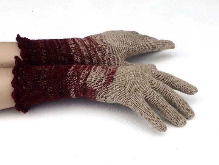 Gloves, knit fingers gloves, knitting women hand warmers, arm warmers, knit beige gloves, winter full gloves, knit wear, mittens, boho by peonijahandmadeshop on Etsy