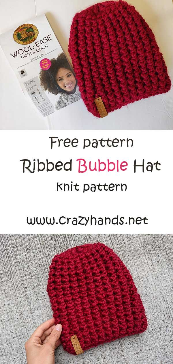 Ribbed Bubble Knit Hat Pattern Straight Needles Crazy Hands Knitting Knitting Patterns Free Hats Hat Knitting Patterns Knitting Patterns Free