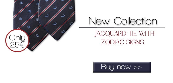 Blue pure silk tie with zodiac sign and contrasting stipe, easy to match   Available for all zodiac signs.