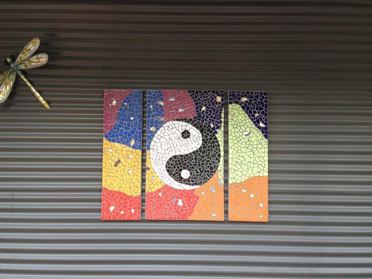 My ying yang Charkras mosaic finally finished & hanging