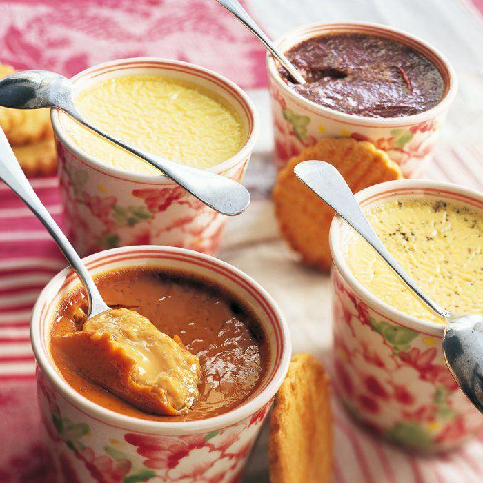 Recette de crèmes de Bonne Maman au chocolat, vanille, caramel et fleur d'oranger