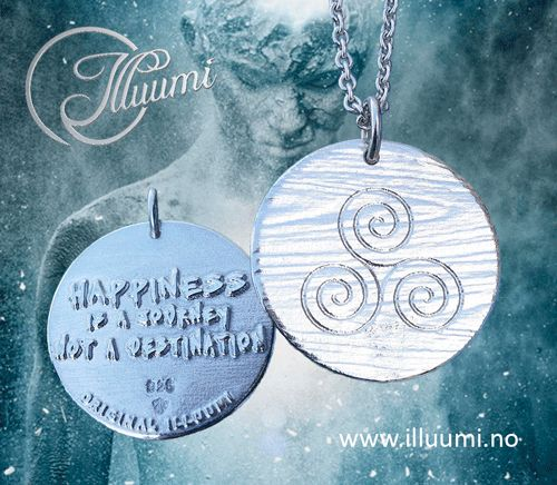 """Happiness is a journey, not a destination"" A reminder to your self or someone you care about to be happy in the moment. Happiness is a way of life, not the result of your efforts. Made out of solid sterling silver, and available in different variants such as oxidized or gold plated. Made in Norway, available at www.illuumi.no  #proverb #inspirationalquotes #inspiration #quotes #gift #amulet #silver #sølv #inspirasjon #amulett #gave #smykke #ordtak #happiness #lykke #trispiral"
