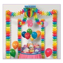 "Birthday Party canopy- cool! Decorate a large area at a birthday party with this Birthday Party Canopy.The Birthday Party Canopy comes completely assembled, simply attach the blue Happy 16th Birthday box to the ceiling- OR NOT if using for a different age bday, and let the decoration fall or stretch to approximately 20 feet.*Comprised of four 12-foot leaf garlands attached to a 12-inch tissue ball ^Dangling pink ""16"" cutout Covers an area of approx 20ftx20ft (1) per package $13.58"