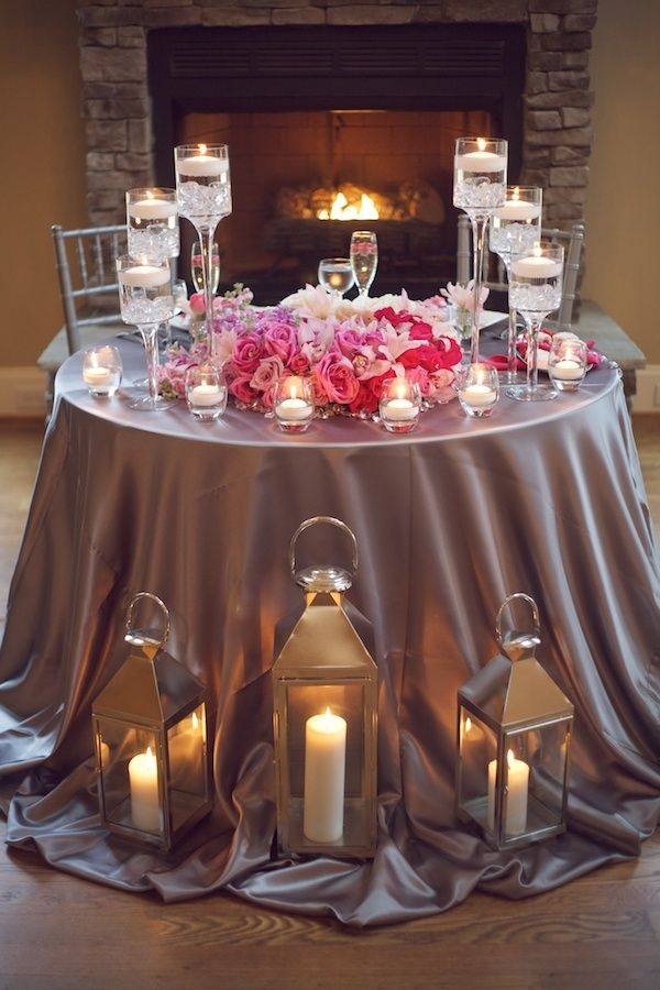 Glamorous-Pink-and-Grey-Candlelit-Tablescape. Love the lanterns. Awesome for he sweetheart table