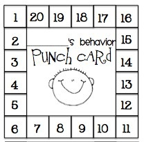 Punch chart..great way to encourage target behavior and track progress towards earning a reward!