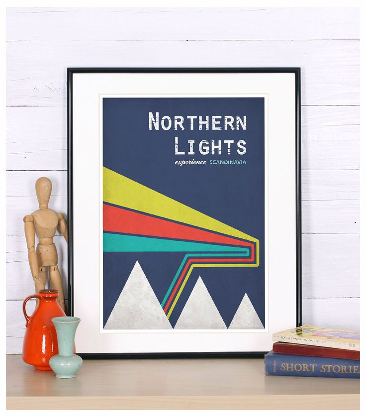 Retro print, poster, northern lights, experience Scandinavia, Scandinavian landscape, vintage travel poster, print, retro wall decor, by EmuDesigns on Etsy https://www.etsy.com/listing/122823733/retro-print-poster-northern-lights