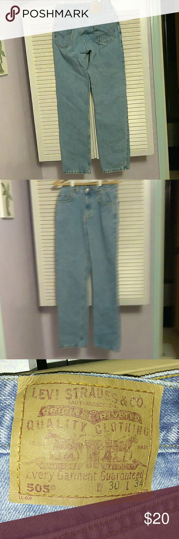 """Levis jeans 505 regular straight leg 30x34. Vintage Levis 505 jeans 30x34. These do not have """"stretch"""" in the material like most are made now. Excellent condition, no frays around pockets or on bottom of legs. levis Jeans Straight Leg"""