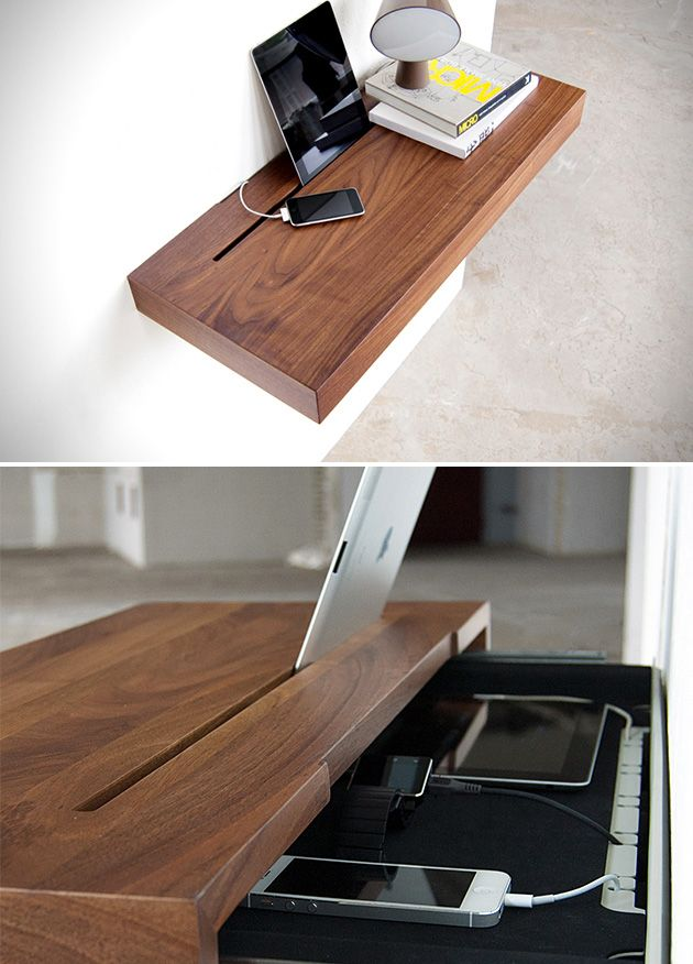 Stage Interactive Shelf: a floating shelf with a built-in & hidden power supply