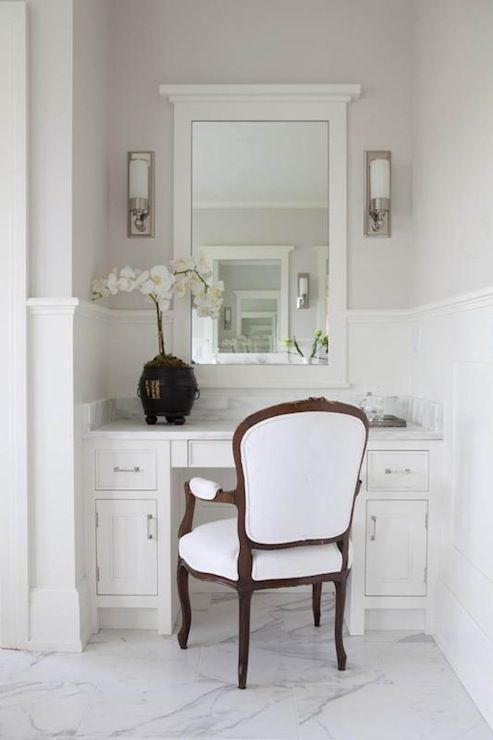 Milton Development: Master bathroom with gray paint color chair rail and white paneled walls...dark and light contrasts