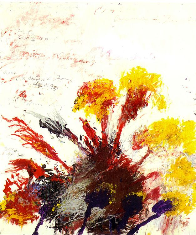 """Cy Twombly - Madness. Edwin Parker """"Cy"""" Twombly, Jr. was an American artist well known for his large-scale, freely scribbled, calligraphic-style graffiti paintings, on solid fields of mostly gray, tan, or off-white colors."""