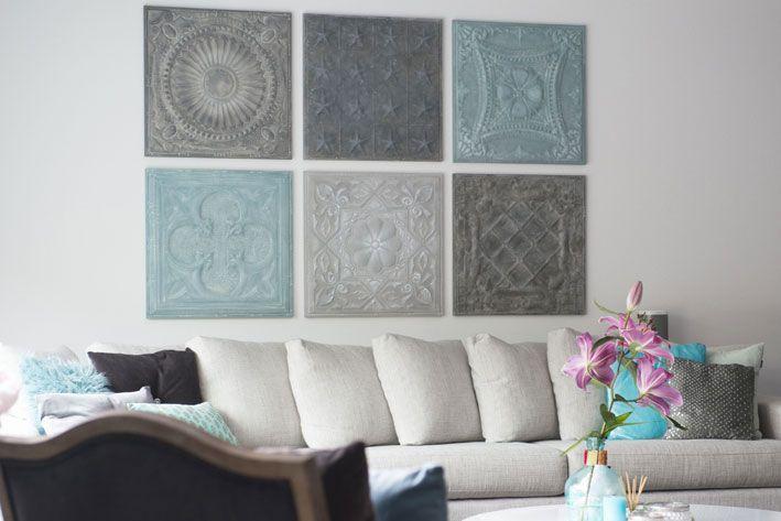 Een flexibele wanddecoratie op maat. In de zomer een combinatie met 2 turquoise panelen en in de winter worden deze verwisseld voor 2 oud roze panelen. Mix&Match jouw persoonlijke set metalen wandpanelen.
