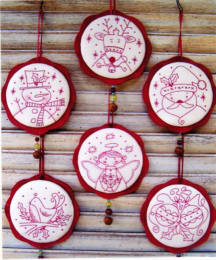 Jingly Dangly Things - sweet redwork Christmas ornaments PATTERN - Country Keepsakes. $16.50, via Etsy.