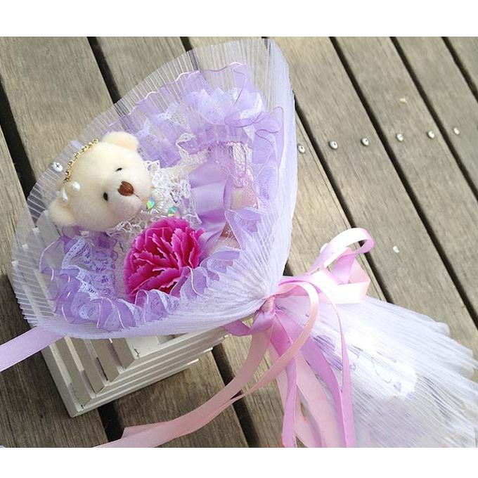 Mother's Day Carnation Single Teddy Bear Cartoon Bouquet Christmas ...
