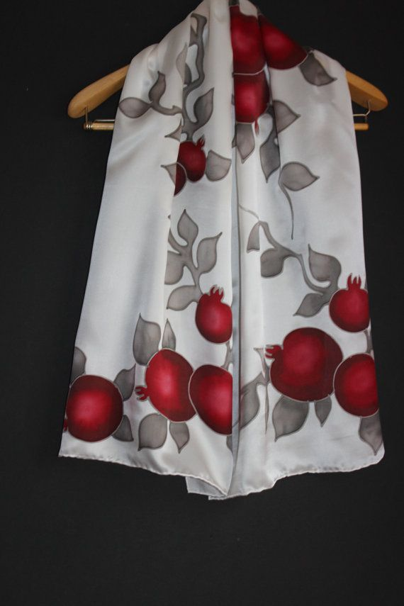 Pomegranate scarf Size 57-18in 45-145 cm  ==================================== Pomegranate is one of the most recognizable symbols of the country. In Armenian mythology it symbolizes fertility and good fortune. It was a guardian against the evil eye. At weddings in Western Armenia, a bride would throw a pomegranate ...