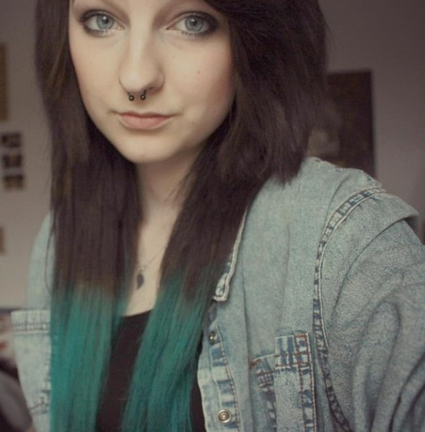 AngiiAlcohol ~ brown hair with green tips #dippeddyedhair #ombrehair #septumpiercing #blueeyes #angiialcohol