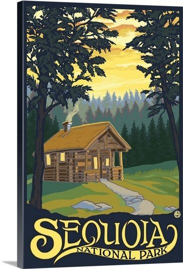 Sequoia National Park - Cabin in Woods: Retro Travel Poster Wall ...