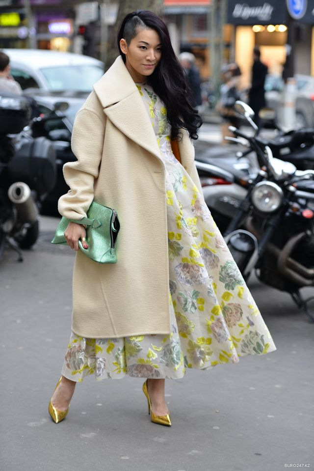 Tina Leung in a Celine coat with a Rochas dress and bag, and Giuseppe Zanotti shoes Paris Haute Couture day 2 #StreetStyle