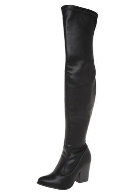 Bota Ramarim Over The Knee Salto Grosso Preta, com bico fino, modelo over knee e cabedal em napa.