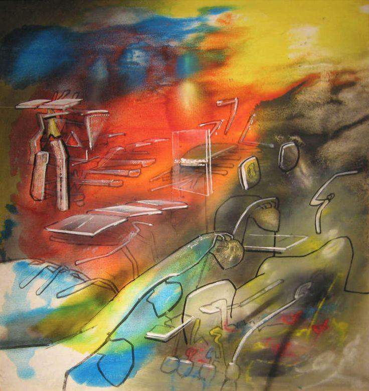 Trois Voix Dans Une (Three Views In One) by Roberto Matta, 1976. Oil on canvas, 43 × 41 inches. Baker Sponder Gallery, Miami, FL.