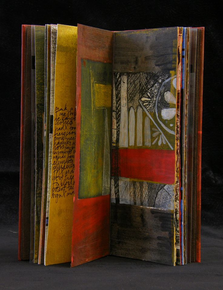 Laura Wait T-Cross #5. ( 5 of 7) Book made of etchings and printed wood type, painted. Sewn binding.