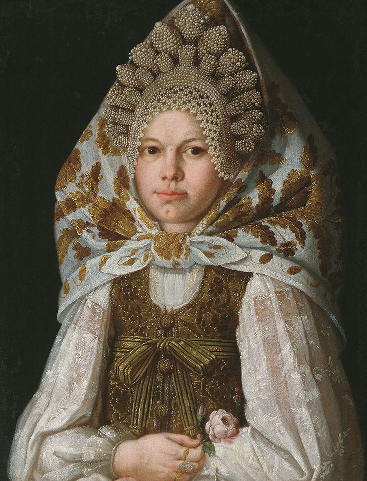 Неизвестный русский художник - Торопчанка с цветком, первая половина XIX в.