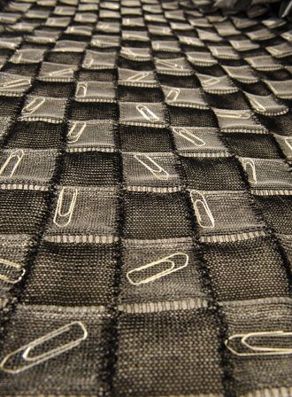 Experimental Textiles Design - knitted grid structure using yarn & mono-filament with safety pin inclusion; creative surfaces // Kerstin Tasherl & Veronika Persche