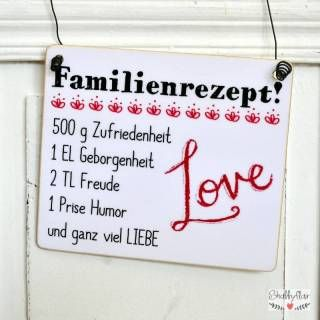 shabbyflair Holzschild Familienrezept