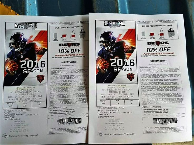 2 Chicago Bears vs Philadelphia Eagles Tickets - 9/19/16 This auction is for two seats side by side, I have blurred out the bar codes just to make sur... #tickets #eagles #philadelphia #bears #chicago