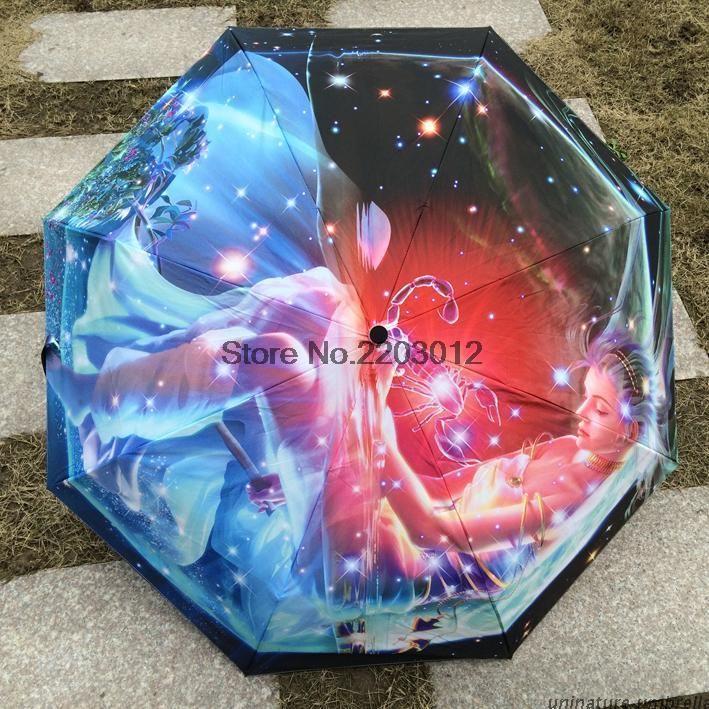 Скорпион Творческий Маслом Дождь Зонтик Унисекс 3 Складной Искусство Abstrait Созвездие Картина Дождь Зонтик Мода Марка