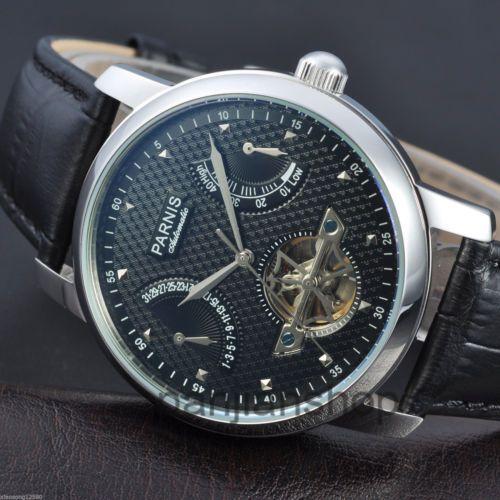 <b>Parnis</b>-43mm-Leather-<b>Black</b>-Dial-Power-Reserve-Automatic-Men ...