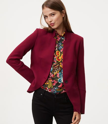 Doubleweave Notched Blazer color Rustic Red
