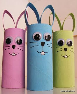 Preschool Crafts for Kids*: Easter Bunny Toilet Roll Craft
