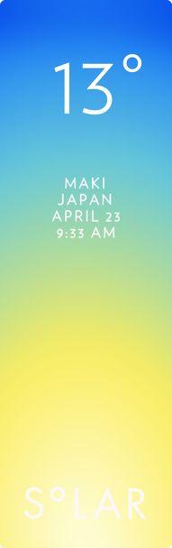 新潟市 西蒲区 weather has never been cooler. Solar for iOS.