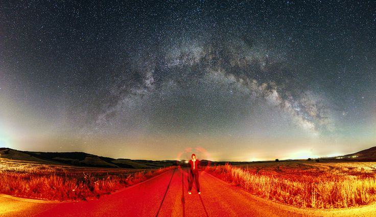 Beautiful summer crop fields with excellent golden colours under the milky way galaxy.