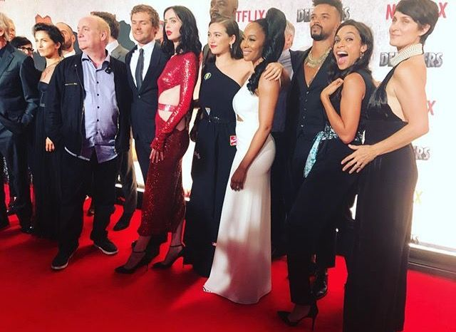 The Defenders: Elodie Yung, Finn Jones, Krysten Ritter, Mike Colter, Jessica Henwick, Eka Darville, Rosario Dawson, and Carrie Ann Moss (photo via Rosario's Instagram)