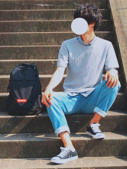 サマーニット×ギンガムチェックシャツで 夏カジュアルコーデ