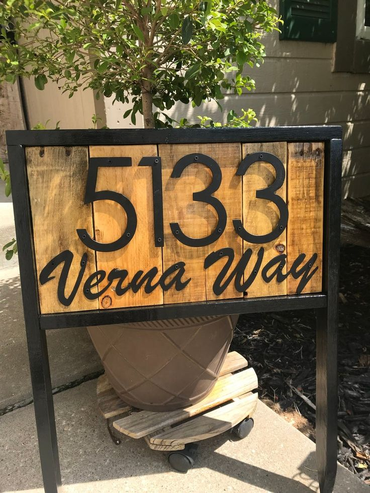 Address stake with street name for yard reclaimed wood