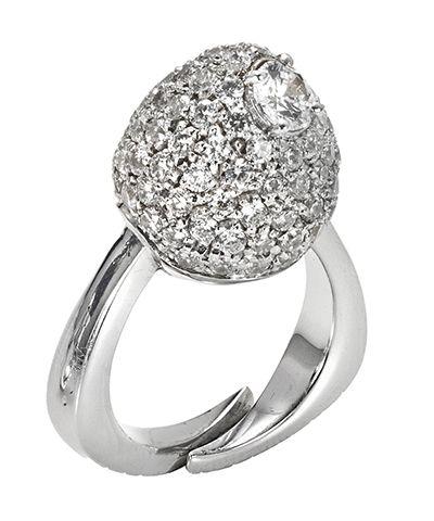 Anello vulcano in argento bianco e zirconi bianchi  http://www.argentoro.it/it/anelli/anello-vulcano