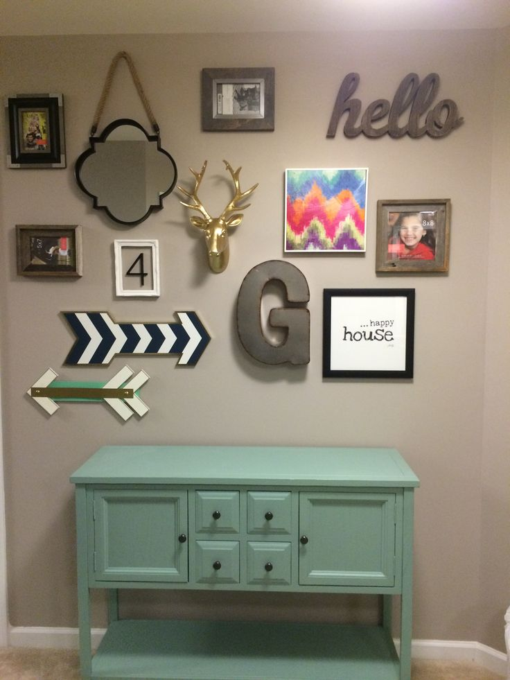 The gallery wall that @pinkilious and I did this weekend! The faux taxidermy is my favorite piece!