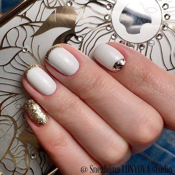 Beautiful nails 2016, Festive nails, Gold french manicure, Nails ideas 2016, Nails with gold, Nails with gold sequins, Original nails, September nails