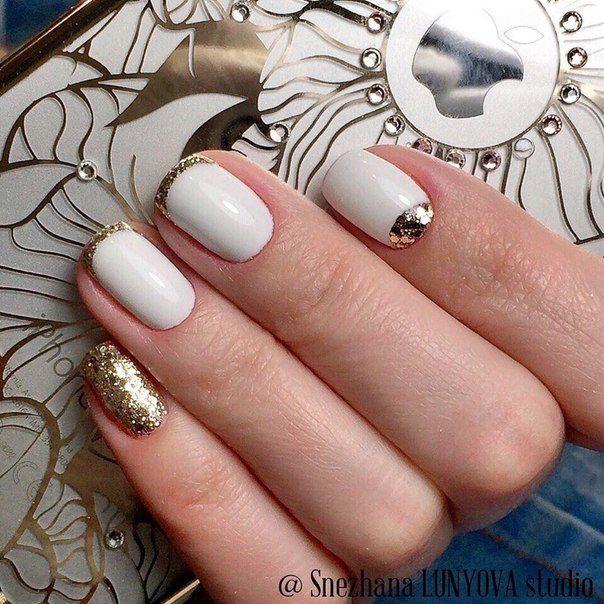 Beautiful nails 2016, Festive nails, Gold french manicure, Nails ideas 2016, Nails with gold, Nails with gold sequins, Original nails, September nails