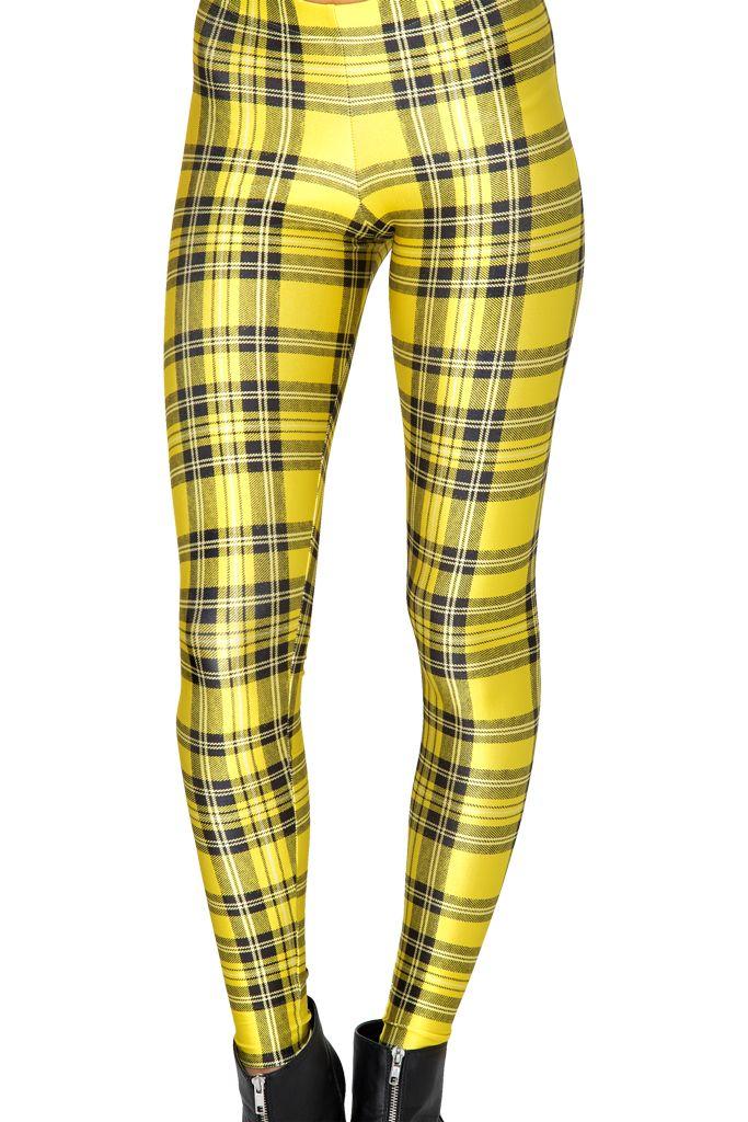 Black Milk Clothing Tartan Yellow Leggings L PC
