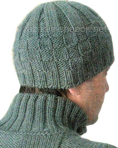 Сайт зі схемами  Зимняя мужская шапка шахматка спицами