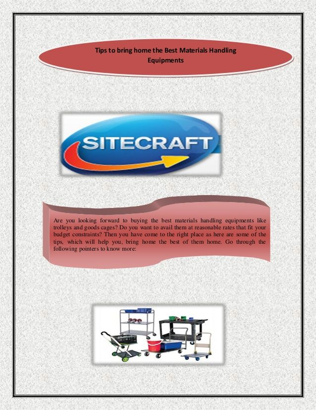 Tips to bring home the best materials handling equipments by Site Craft via slideshare